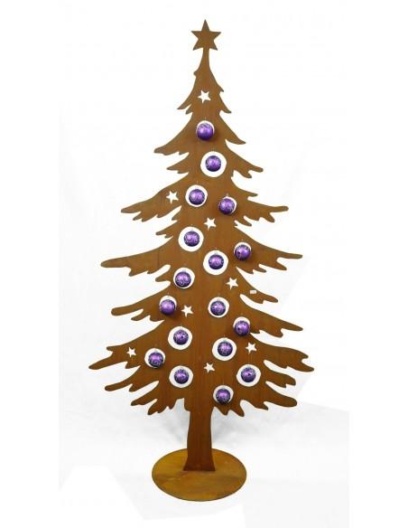 Edelrost Dekotanne 200 cm hoch für Christbaumkugeln