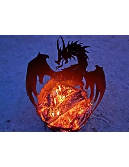 Motiv Feuerkörbe Drachen Feuerschale 60 cm hoch D: 40 cm - Feuerschale für Halloween Party Perfekt für die Halloween Party im Ga