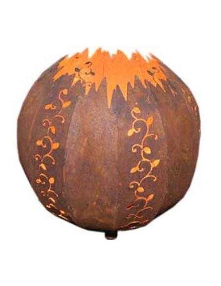 Deko Kugelleuchte Strecki 20 cm - Kugelleuchte Edelrost mit Kerzenteller