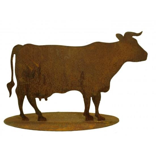 Rostige Kuh mittelgroß auf Platte 50 - 75 cm Edelrost Kuh Cow3P Cow2P Cow4P Cow5P