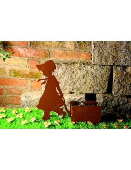 Menschen und Silhouetten Edelrost Mädchen mit Karren, zum Bepflanzen, Höhe 40 cm Edelrost Figur eines Mädchens mit Karren Schöne