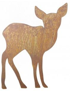 rot//natur /Ø8cm 10 Dekostecker Hirsch Kopf aus Holz am Stab
