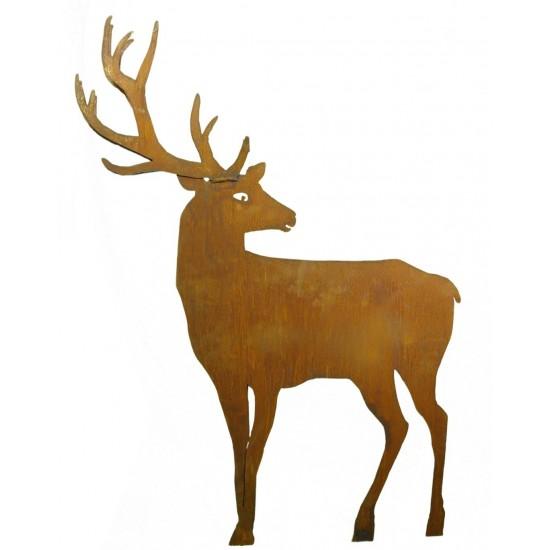 Rost Hirsch groß Höhe 100 cm nach hinten schauend zum Stecken - doppeltes Geweih