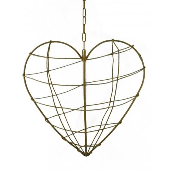 Draht Herz für Gestecke zum Hängen 40 x 40 cm