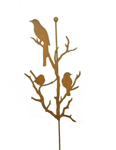 Edelrost Vögel auf Ästen an Stab mit Kugel aus Metall Gartenstecker mit Rost Patina und Tiere