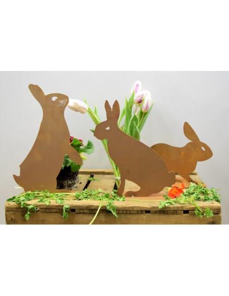 Rostiger DEKO Hase sitzend (Schattenbild) Sitzende oder lauernde Position tolle Dekoidee für Frühling und Ostern Metallhase
