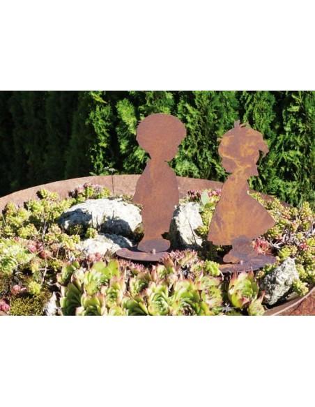 Figuren Shop Metall Kinderfigur Junge und Mädchen rostige Dekoration