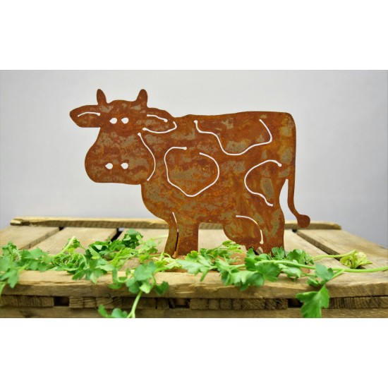 Rost Kuh 'MIlka', 18 x25 cm, auf Platte