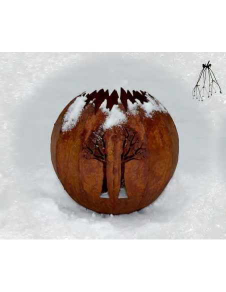 Gartendeko Rost Lichtkugel Baum Ø 30 cm in Edelrost Edelrost