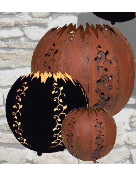 Kugelleuchte Strecki 20 cm - Kugelleuchte Edelrost mit Kerzenteller