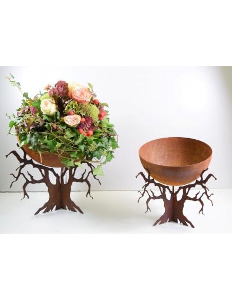 Blumenschale rustikal mit Ast Ständer