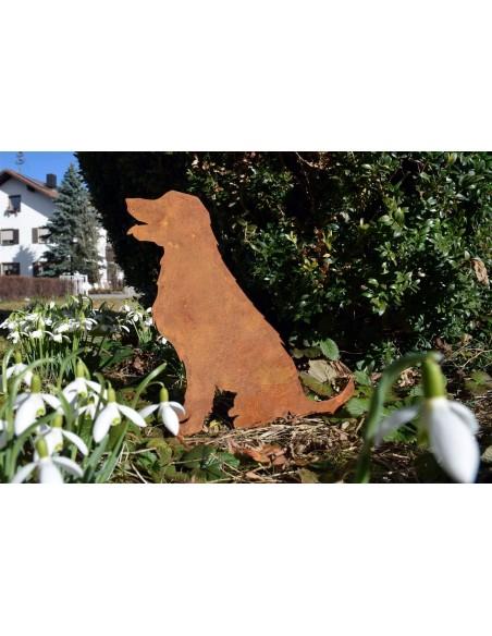 Gartendeko Rost Hund mit Schneeglöckchen