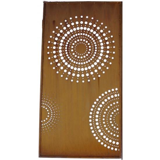 Moderne Sichtschutzwand Metall mit Kreisen