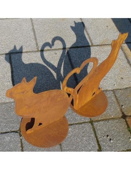 Gartendeko Katze aus Metall
