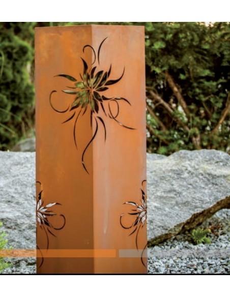 30 x 30 cm Rostsäule mit Blüten-Motiv, Höhe 100 cm Säule mit Blütenmotiv aus Edelrost Diese Säule ist ein wahrer Hingucker. Bes