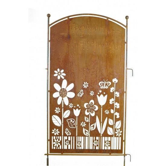 Paravent Blumengarten Trennwand Sichtschutzwand aus Metall Edelrost Deko für den Garten