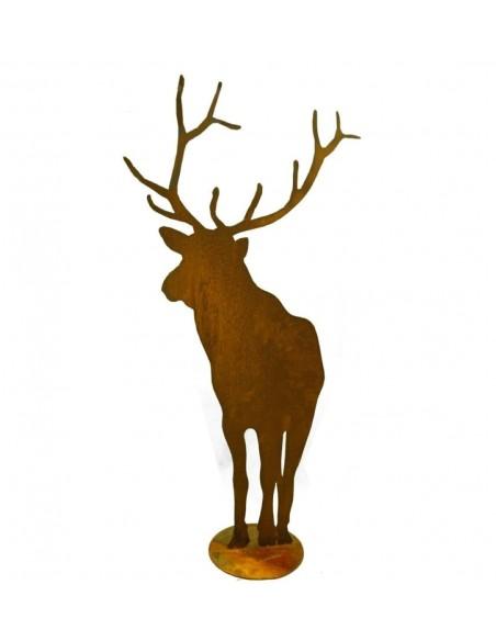 Edelrost Hirsch von vorne, 100cm hoch Breite 52cm, mit Platte