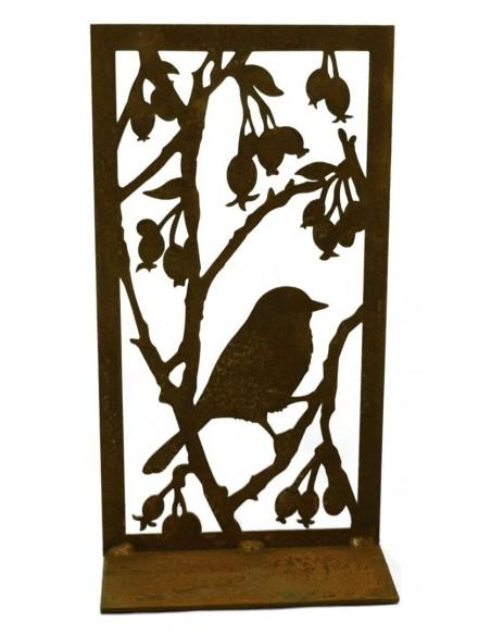 Deko Bild Vogel mit Beeren aus Edelrost für Teelichter