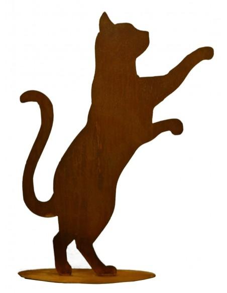neugierige Katze aus Metall Edelrost Gartendeko
