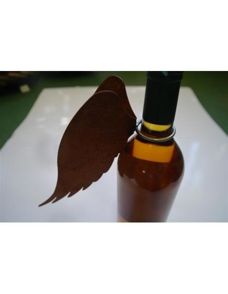 Gastronomie und Ladendekoration Rost Engelsflügel doppelt für Weinflasche mit Ring - Flaschenflügel  Engelsflügel mit Ring