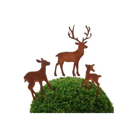 Gartenstecker Hirsch mit Reh als Familie