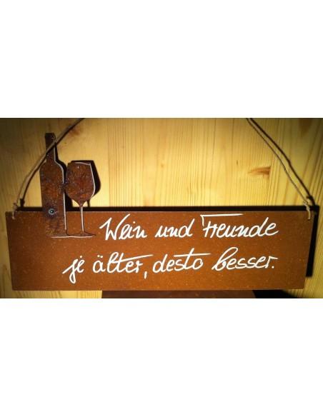 """Rostschild """" Wein ud Freunde je älter, desto besser"""" Deko für Gastronomie"""