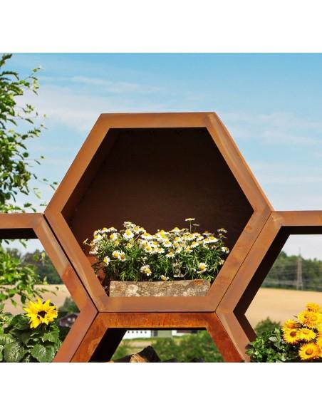 Holzregal Holzstapel Holzlege Holzbeige -Wabe- 6-eckig geschlossen als Sichtschutz verbaubar