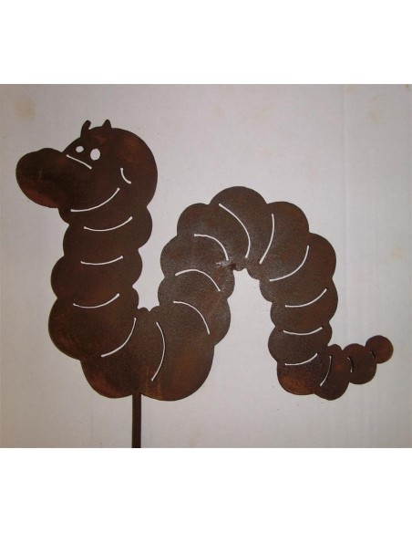 lustiger Wurm aus Metall mit Edelrostpatina Höhe 20 cm Beetstecker - Gartenstecker