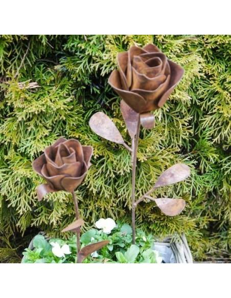 Gartendeko Rost Rose Gartenstecker, 45 cm hoch Edelrost