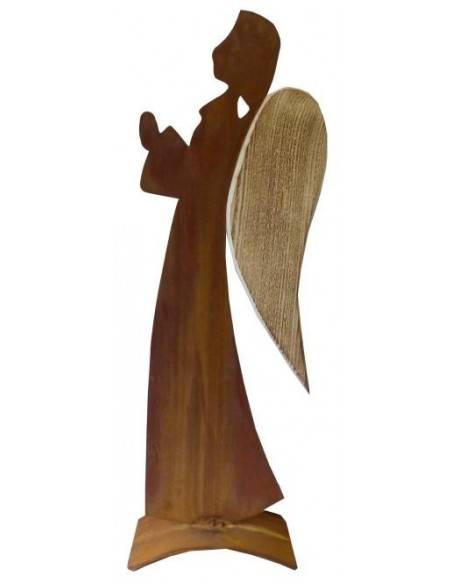 Edelrost Deko Engel Veronika mit Holz 100 cm hoch -angeflammt- Metall Engel rostig Metallmichl 0899-15