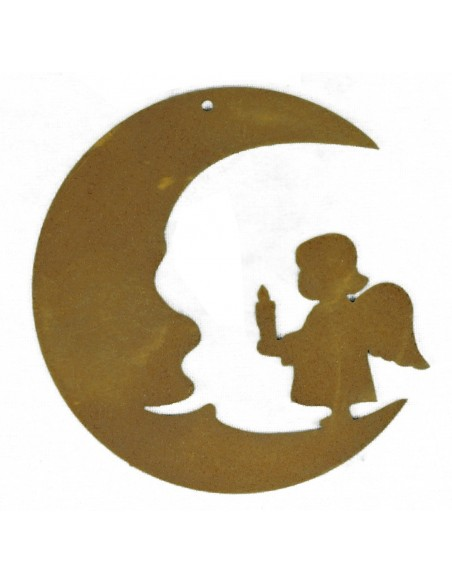 Edelrost Christbaumschmuck Mond mit Engelskind, Höhe 8 cm