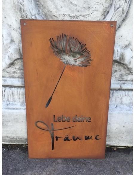 Rostschild Lebe deine Träume mit Pusteblume zum Hängen, Höhe 34 cm Rostdeko Gartendeko Rost