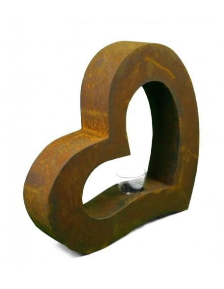 Metallobjekt Herz klein Höhe 36,5  inkl. Teelichtglas