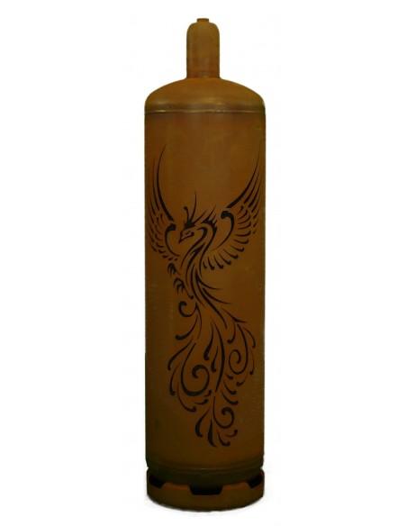 """Feuerstelle Gasflasche """"Phönix"""" 128 cm hoch Edelrost rostig Metall"""