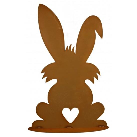 Hase mit Herz Puschel 40 cm hoch -  Osterdekoration für den Garten  Edelrost Rosthase rostiger Hase von hinten