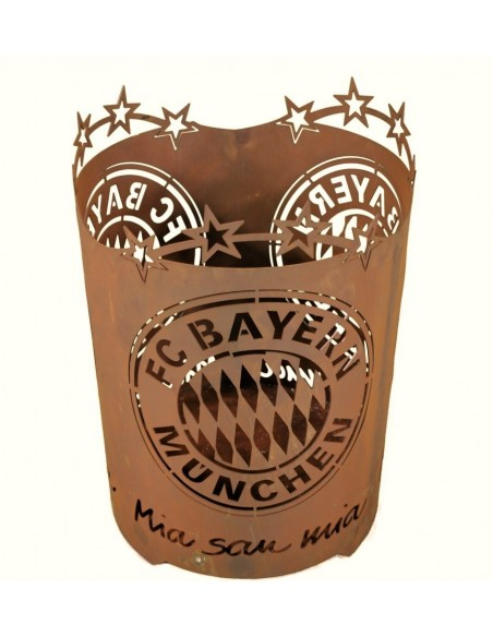 Edelrost Feuerschale Fanartikel FC Bayern Feuerkorb Mia san mia FCB Gartenfeuerschale miasanmia
