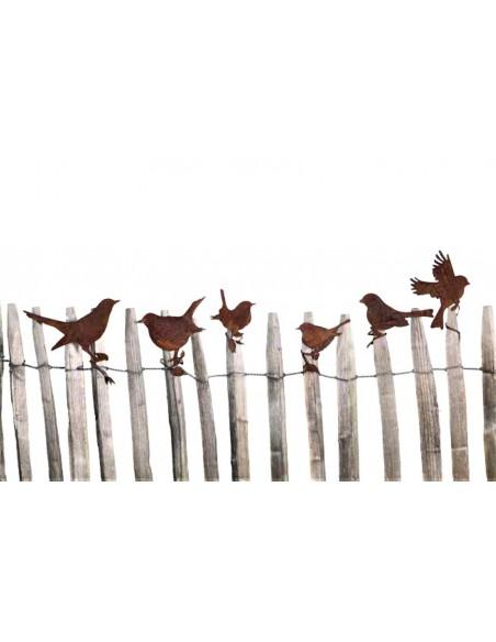 Edelrost Vogel 'dicke Amsel ' mit Befestigungsband für Ast Höhe 13 cm aus rostigem Metall von Metallmichl