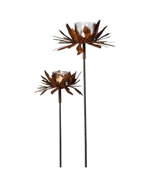 Glas Teelicht Höhe für Roststecker 6,7  Ø 5,5 cm als Zubehör für Gartenstecker und Tischdeko