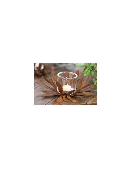 Glas Teelicht Höhe für Roststecker 6,7  Ø 5,5 cm als Zubehör Rostdeko für Drinnen und Draußen