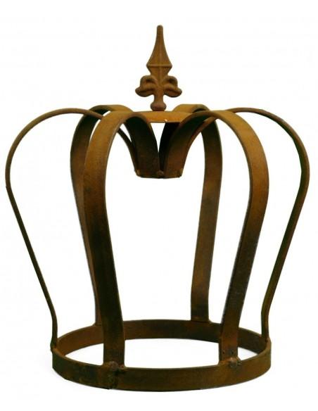 Edelrost Krone massiv mit Lilienspitze Höhe 32 cm - königliche Deko für den Garten aus rostigem Metall