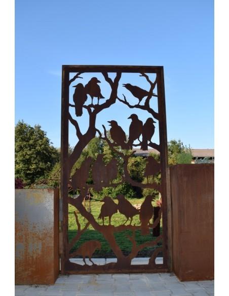 Raben Paravent 200 cm x 100 cm aus Edelrost zur Gartendeko und Sichtschutz für Nachbarn