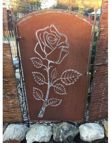Paravent Rose, 140 cm Hoch Sichtschutz aus Edelrost Metall als Gartendeko kombinierbar