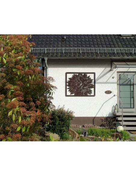 Dahlien Paravent 1,50 x 1,20 m als Sichtschutz oder Wandbild aus Edelrost Metall Rostbumen kein Corten