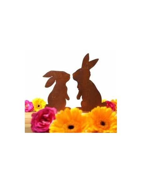 küssende Hasen 2er Set - Edelrost Hasenpaar aus rostigem Metall zur Osterdeko