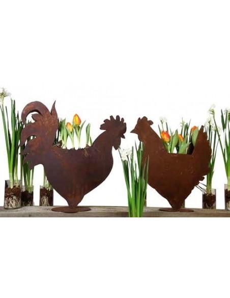 Henne Shilhouette zum Bepflanzen auf Platte als Oster- und Frühlingsdeko