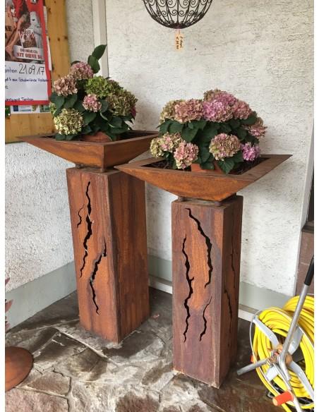 Rost Säule Risse 100 cm hoch rechteckig aus Edelrost zur Gartendeko