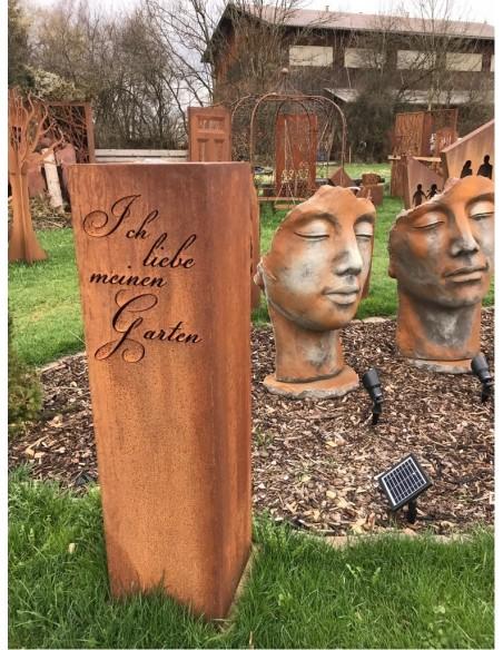 """Edelrost Deko Säule """"Ich liebe meinen Garten"""", Höhe 120 cm Rostige Stele mit Spruch"""