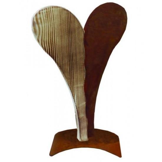 Zweiteiliges Herz aus Edelrost und angeflammtem Holz verschiedene Größen