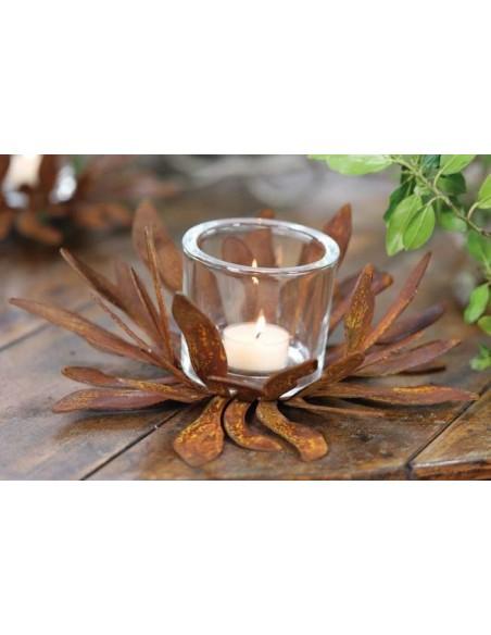 Glas Windlicht 9 x 8 cm mit Edelrost Dekor