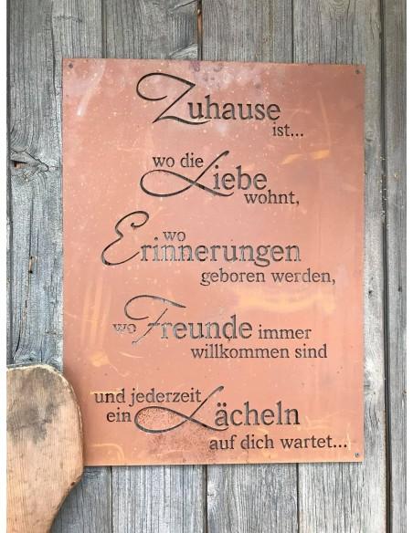 """Gedichttafel """"Lächelndes Zuhause"""" Zuhause ist... Edelrost Spruchschild Rostschild"""